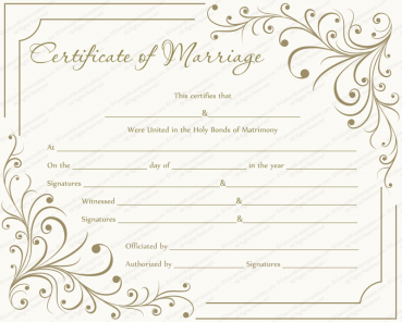 Creamy Gray Marriage Certificate Template