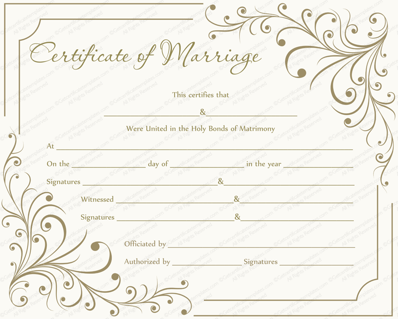 creamy gray marriage certificate template get certificate templates