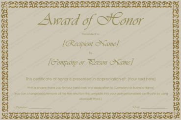 Printable Award of Honor Certificate Template