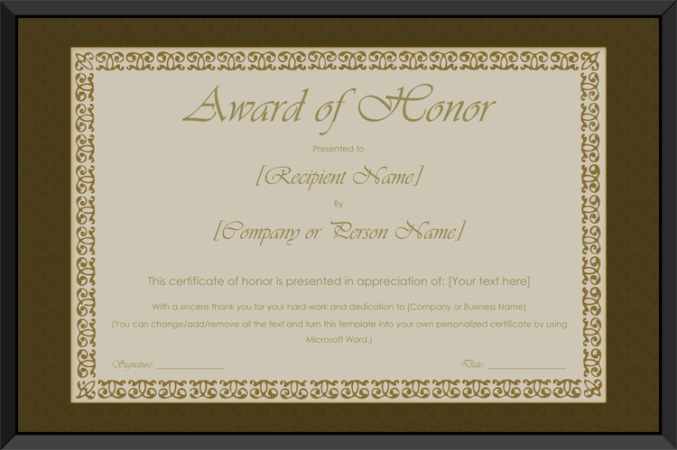 Printable award of honor certificate template get certificate download options for printable award of honor certificate template yelopaper Image collections
