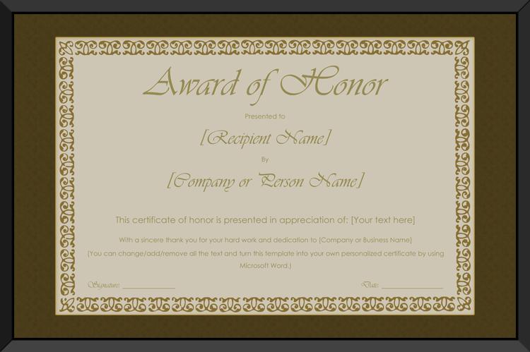 Printable Award Of Honor Certificate Template