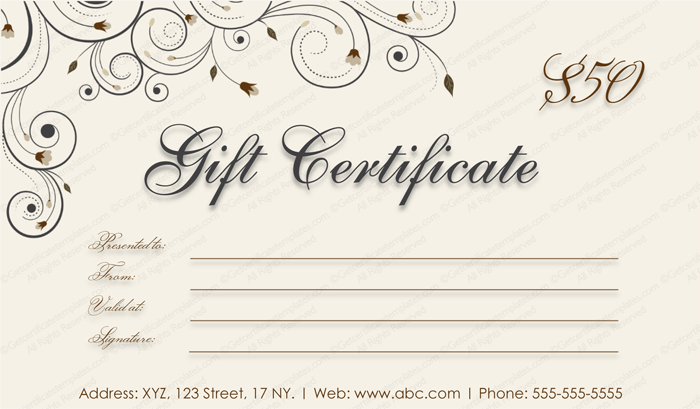 Spring blossoms Gift Certificate Template