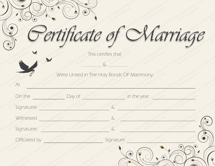 Vintage Marriage Certificate Design Template In Psd Word: Spring Blossoms Marriage Certificate Template
