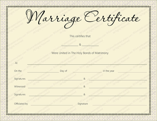 ... Delight Marriage Certificate Design - Marriage Certificate Templates