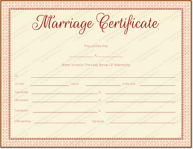 Free Printable Marriage Certificate Online  Apache