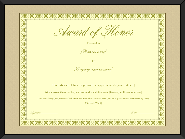 Award of honor certificate template editable for word yelopaper Images