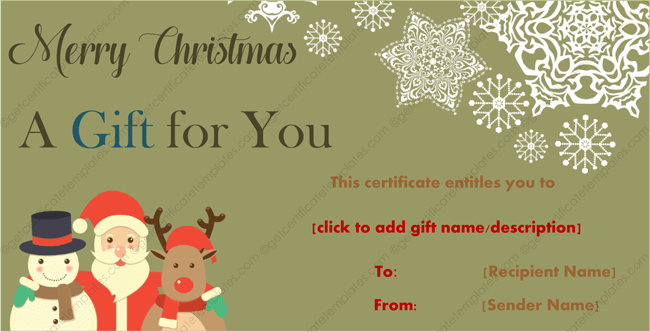 Christmas Gift Template Santa Frosty and Rudolf Design – Santa Gift Certificate Template