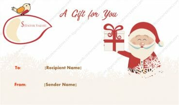 Merry Santa Christmas Gift Certificate Template