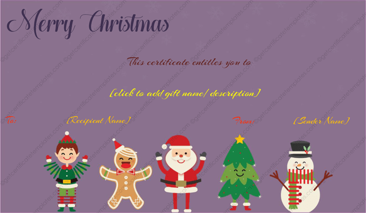 Printable and editable gift template. Add your details by opening it in Microsoft Word.