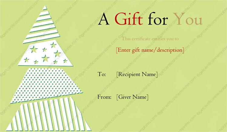 Elegant Christmas Tree Designed Gift Certificate Template