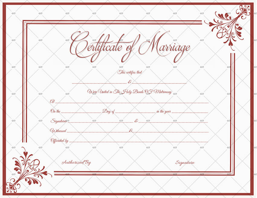 Church Marriage License Template