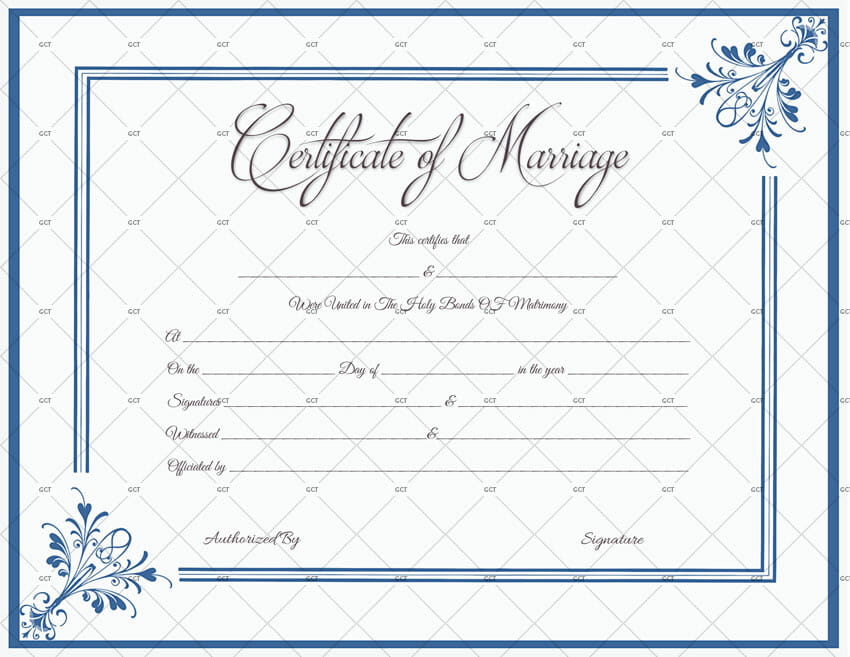 This is an image of Sassy Marriage Certificate Template Word