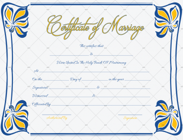 Flowers design marriage certificate template blank for Word