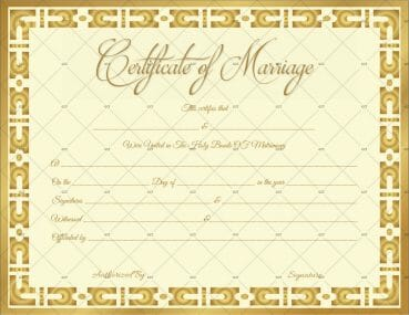 Marriage Certificate Template (Gold Vintage)