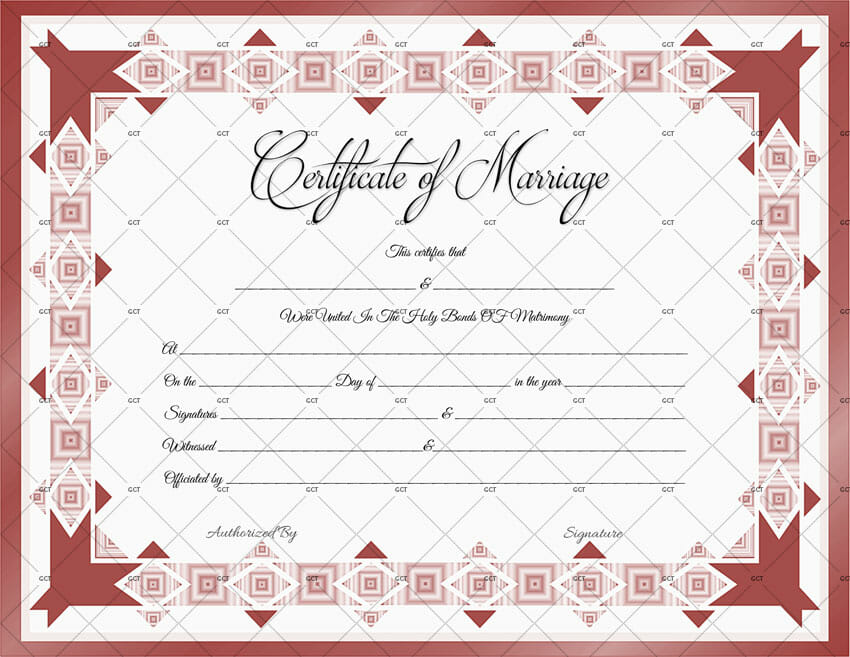 Printable Marriage Certificate Template (Word)