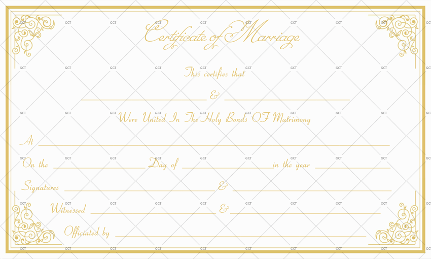 Formal Marriage Certificate Template (Golden Edge)