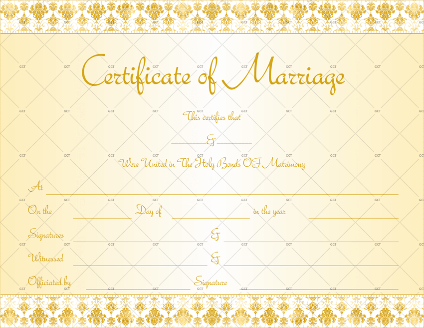 New Marriage Certificate Template (Royal-Gold)