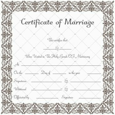 Marriage License Template (Photo Frame Size)