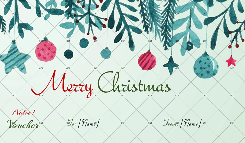 CHRISTMAS GIFT CERTIFICATE (WATERCOLOR DESIGN)