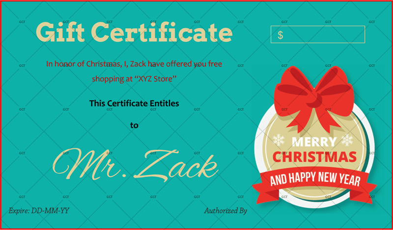 Christmas Certificate (Red Ribbon)