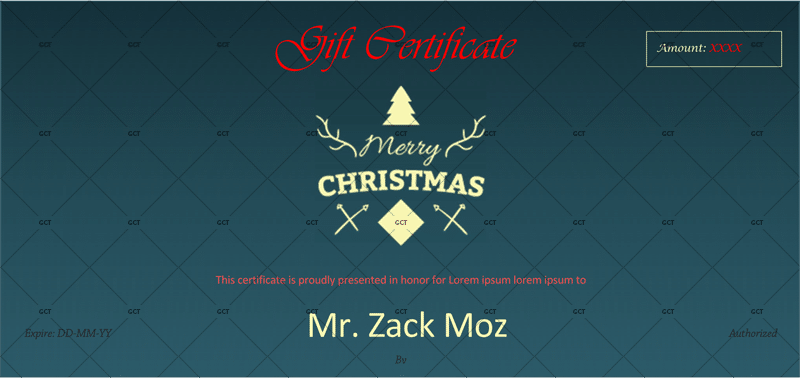 Christmas Gift Certificate (Blue Sapphire Color)