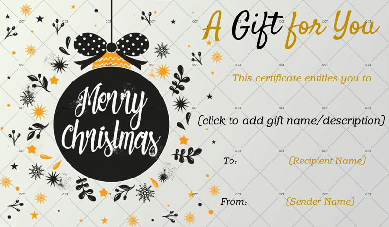 Christmas Gift Certificate (Chic Ornament Design)