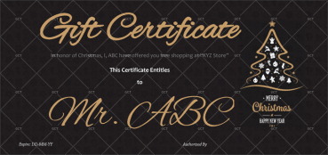 Christmas Gift Certificate (Dark Sleek Background)