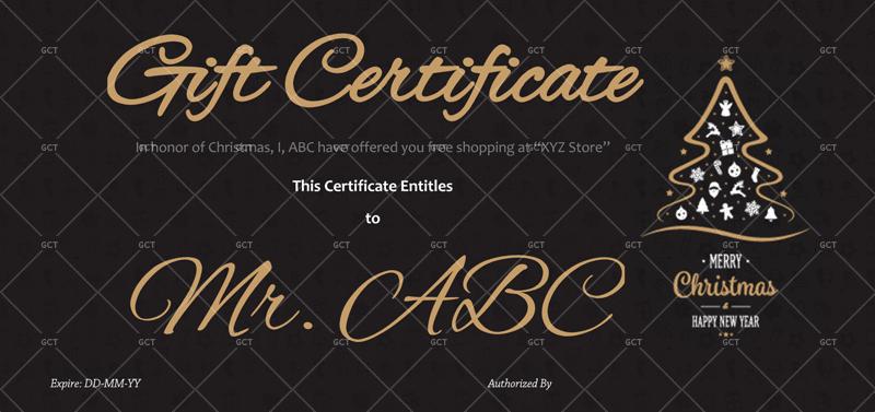 Christmas Gift Certificate (Dark Sleek Background)