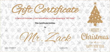 Christmas Gift Certificate (Golden Christmas Tree)