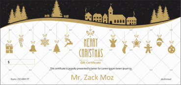 Christmas Gift Certificate (Golden Hangings)