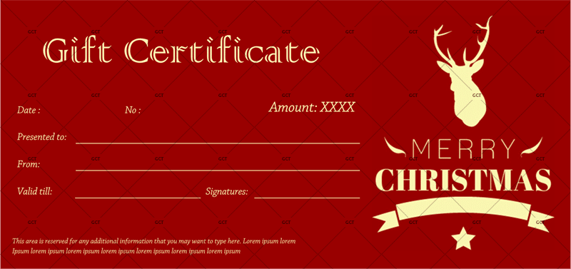 Christmas Gift Certificate (Iconic Reindeer)