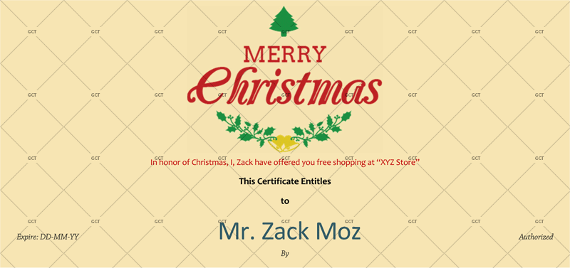 Christmas Gift Certificate (Ivory Background)