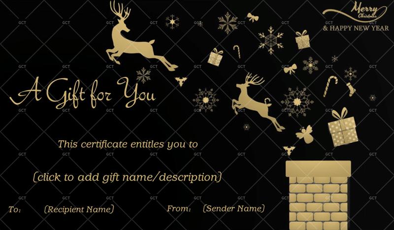 Christmas Gift Certificate (Reindeers in Night)