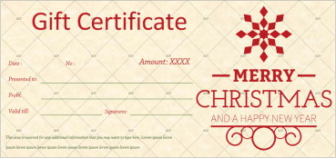 Christmas Gift Certificate (Snowflake)