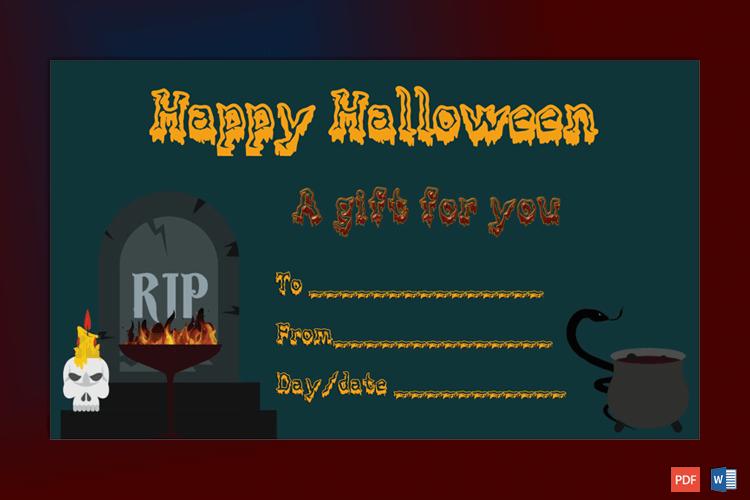 Halloween Gift Certificate Sample