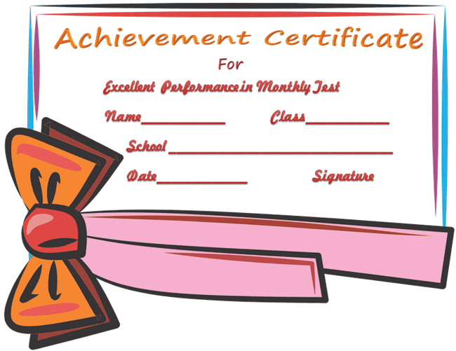 Certificate Of Achievement Template For Passing Test