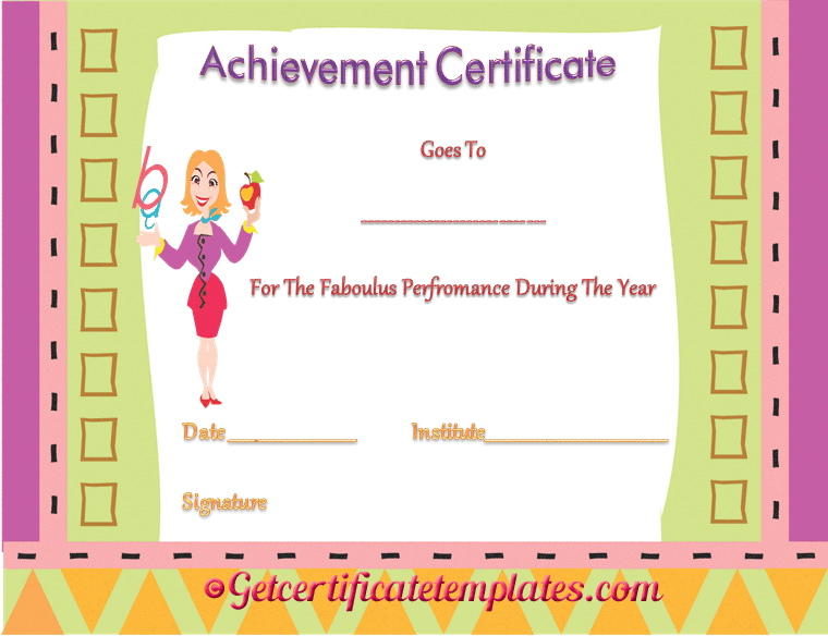 Certificate of Achievement Template for Fabulous Performance