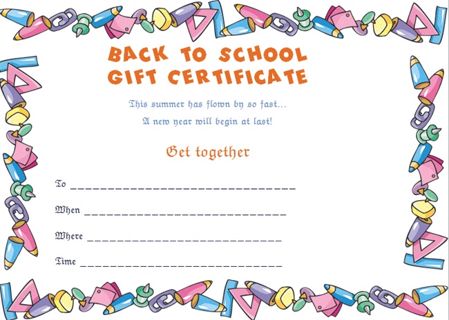 Back to School Gift Certificate Template (Stationary Style)