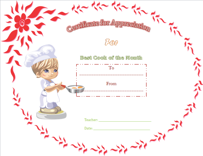 Cooking Certificate Template Fascinating Best Cooking Appreciation Certificate Template