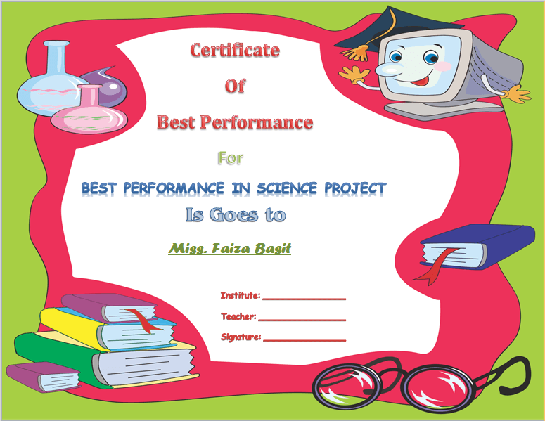 Best science student award certificate template for Student of the week certificate template free