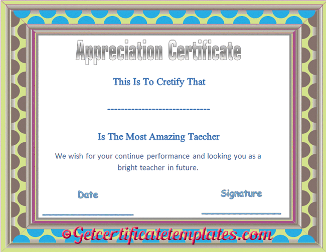 Editable Certificate of Appreciation Template – Editable Certificate Templates