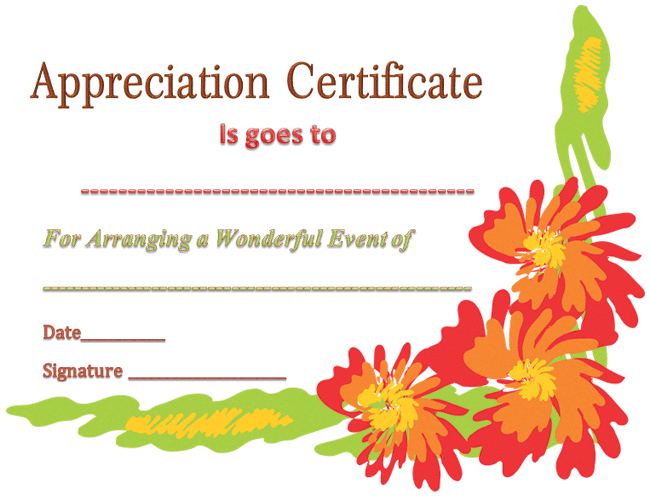 certificate of appreciation template for event organizer