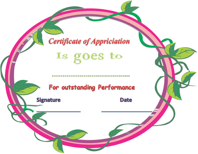 performance certificate templates .