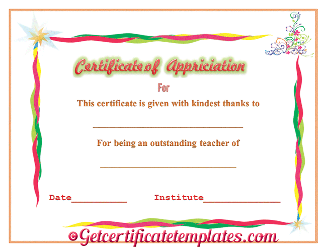 Certificate of Appreciation for Outstanding Teaching – Sample Wording for Certificate of Appreciation