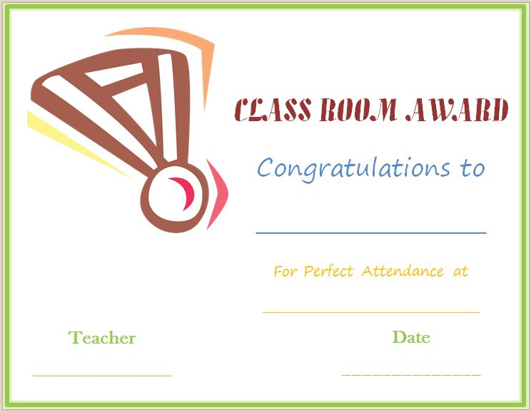 Classroom Attendance Award Certificate Template (Medal Design)
