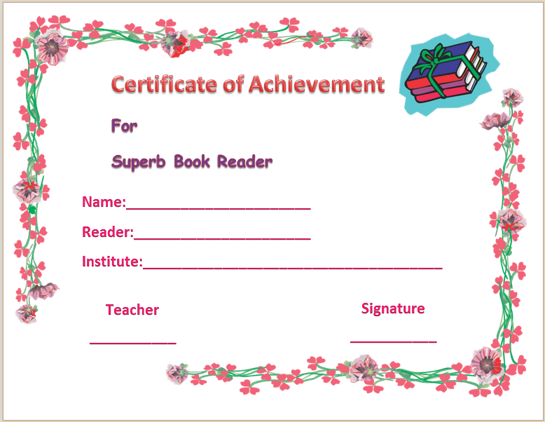 Colorful best reader certificate of appreciation template yelopaper Gallery