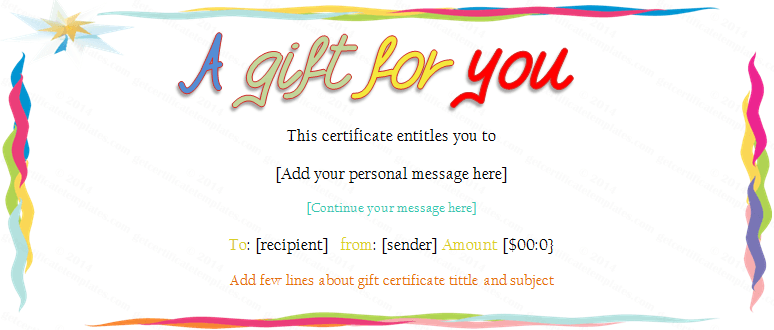 Colorful border gift certificate template for Birthday gift certificate template