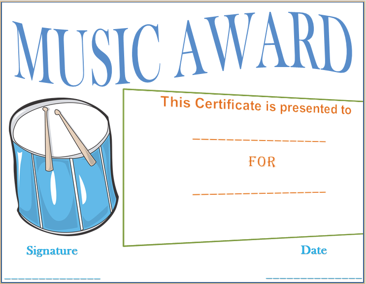 Drumbeat Award Certificate Template