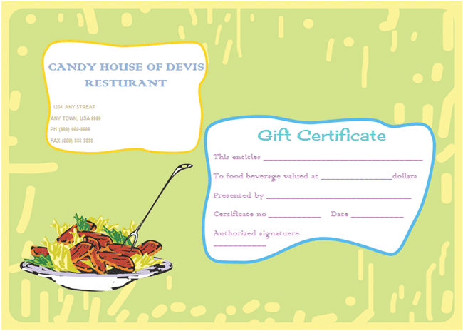 Eat n Share Restaurant Gift Certificate Template