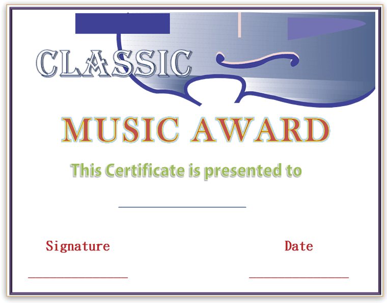 First-string Music Award Certificate Template